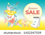 summer sale banner with... | Shutterstock .eps vector #1432347539