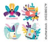 invitation cards set. active... | Shutterstock .eps vector #1432380179