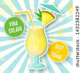 banner with pina colada... | Shutterstock .eps vector #1432382249