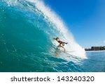 surfer on blue ocean wave... | Shutterstock . vector #143240320