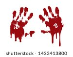 bloody hand print set isolated... | Shutterstock .eps vector #1432413800