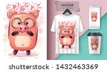 cute pig   mockup for your idea.... | Shutterstock .eps vector #1432463369