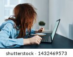 a woman with disheveled hair...   Shutterstock . vector #1432469573