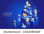 blockchain concept. isometric...   Shutterstock .eps vector #1432484369