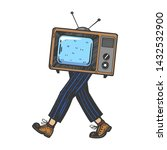 tv walks on its feet color... | Shutterstock . vector #1432532900