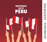 Stock vector vector illustration on the theme peru independence day hands with peru flags 1432539350