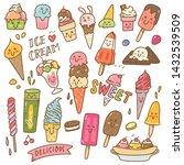 set of kawaii style ice cream... | Shutterstock .eps vector #1432539509