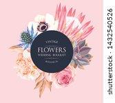 wedding invitation with protea... | Shutterstock .eps vector #1432540526
