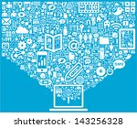 laptop   social media icons | Shutterstock .eps vector #143256328