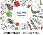turkish food. shawarma hand... | Shutterstock .eps vector #1432565453
