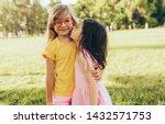 two positive children shares... | Shutterstock . vector #1432571753