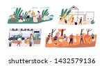 collection of scenes with... | Shutterstock .eps vector #1432579136