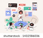 young woman sitting on floor at ... | Shutterstock .eps vector #1432586036