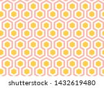 yellow  pink and white hexagons ... | Shutterstock .eps vector #1432619480
