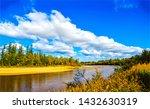 Autumn Forest River Landscape...