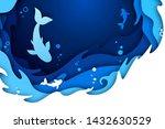 paper art craft of underwater...   Shutterstock .eps vector #1432630529