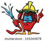 funny cartoon strawberry on the ...   Shutterstock .eps vector #143264878