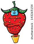 funny cartoon strawberry on the ... | Shutterstock .eps vector #143265154