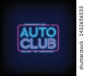 auto club neon sign vector with ... | Shutterstock .eps vector #1432656533
