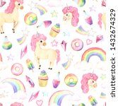 seamless pattern with hand...   Shutterstock . vector #1432674329