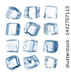 Small photo of Set of pieces of pure blue natural crushed ice. Ice cubes. Clipping path for each cube included.