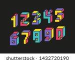 set of number 3d bold color...   Shutterstock .eps vector #1432720190