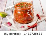 Tomato Salsa In A Glass Jar....