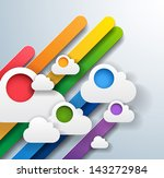 abstract colorful background with rainbow stripes and white clouds - unusual illustration - vector - stock vector