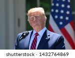 Small photo of WASHINGTON, DC - JUNE 12, 2019: President Donald Trump pauses with a serious face during a press conference in the Rose Garden of the White House with Polish President Andrzej Duda.