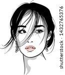 asian girl portrait. vector....   Shutterstock .eps vector #1432765376