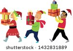 three kids in christmas... | Shutterstock .eps vector #1432831889