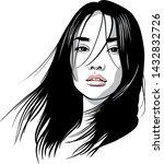 asian girl portrait. vector....   Shutterstock .eps vector #1432832726