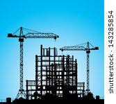 construction site. a silhouette ... | Shutterstock .eps vector #143285854