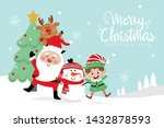 merry christmas greeting card... | Shutterstock .eps vector #1432878593