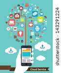 mobile cloud service   Shutterstock .eps vector #143291224