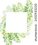 green leaves frame template....   Shutterstock .eps vector #1432933220