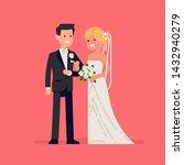 bride and groom flat vector... | Shutterstock .eps vector #1432940279
