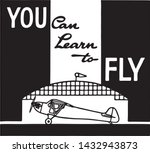 you can learn to fly   retro ad ... | Shutterstock .eps vector #1432943873
