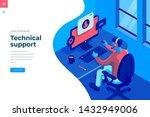 technical support isometric... | Shutterstock .eps vector #1432949006