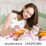 sick kid with high fever laying ... | Shutterstock . vector #143295280