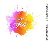 happy holi card with blobs... | Shutterstock . vector #1432960550