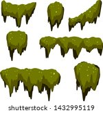 Set of swamp moss of different shapes. bog mud and mold. rotten tree. Cartoon flat illustration. marsh element. Green plant in the forest and nature
