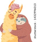 cute cartoon lama alpaca with...   Shutterstock .eps vector #1432996013