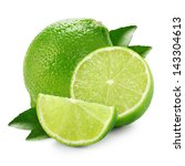 Limes With Slices And Leaves...