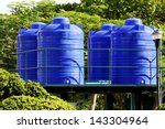 blue water tank on the tower in ...   Shutterstock . vector #143304964
