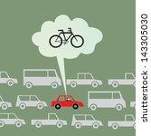 biking to work instead of... | Shutterstock .eps vector #143305030