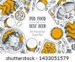 pub food and beer vector... | Shutterstock .eps vector #1433051579