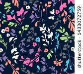 cute floral on navy   seamless... | Shutterstock . vector #1433072759