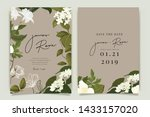white flower wedding invitation ... | Shutterstock .eps vector #1433157020