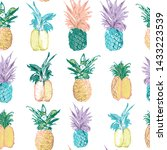 pineapple patterns with... | Shutterstock .eps vector #1433223539